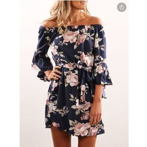 Dresses & Skirts - Off the shoulder navy blue floral mini dress tie s